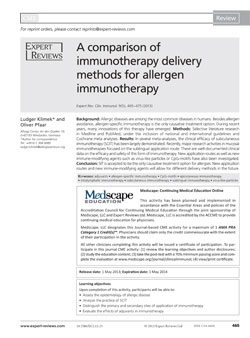 2013 ExpertReview Comparison-of-immunotherapy thumb